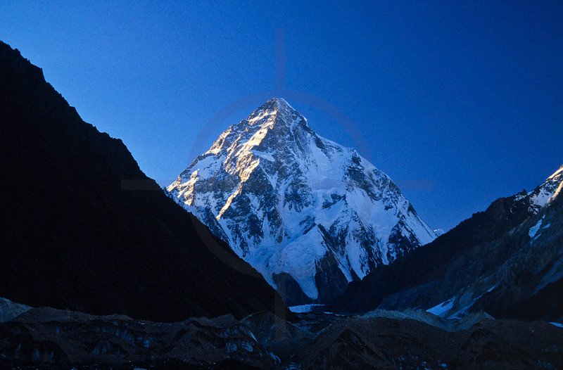 First light on K2 as seen from Concordia, Baltoro Glacier, Baltistan, Pakistan