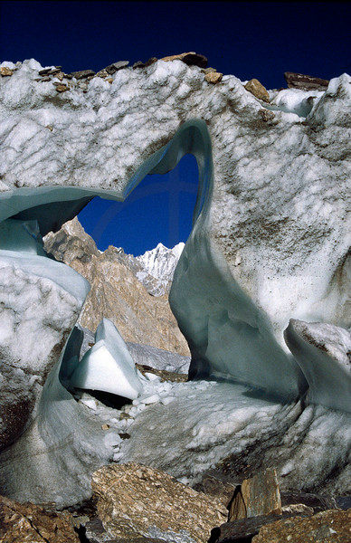 Natural ice arch, Baltoro Glacier, Baltistan, Pakistan
