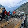 Crossing a damaged bridge, road from Skardu to Askole, Baltistan, Pakistan