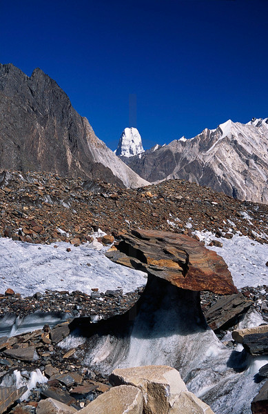 Glacier table and Muztagh Tower, Upper Baltoro Glacier, Baltistan, Pakistan