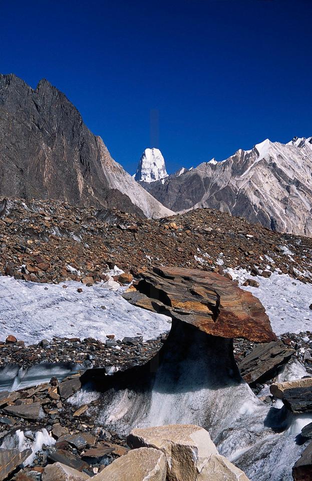 Glacier table and Muztagh Tower, Upper Baltoro Glacier, Baltistan, Pakistan