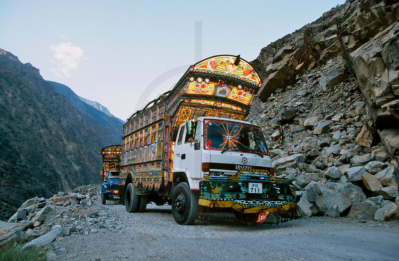 Decorated trucks, Karakoram Highway, Northern Pakistan