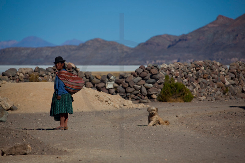Bolivian woman with dog, Altiplano, Bolivia