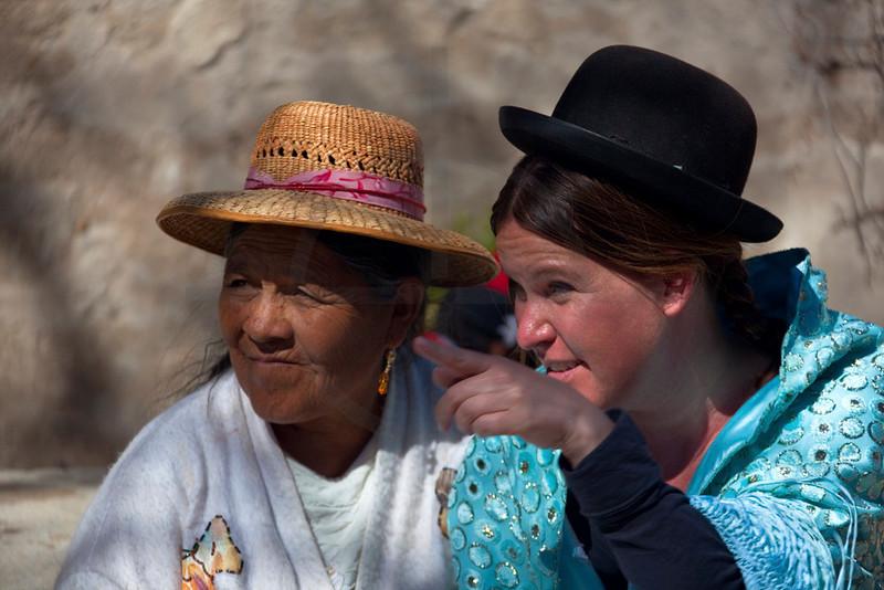 Socializing with the locals, aka tourist dressed as a  local, Jijiri, Potosí, Bolivia