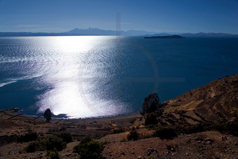 Sunlight reflecting on Lake Titicaca, Isla del Sol, Bolivia