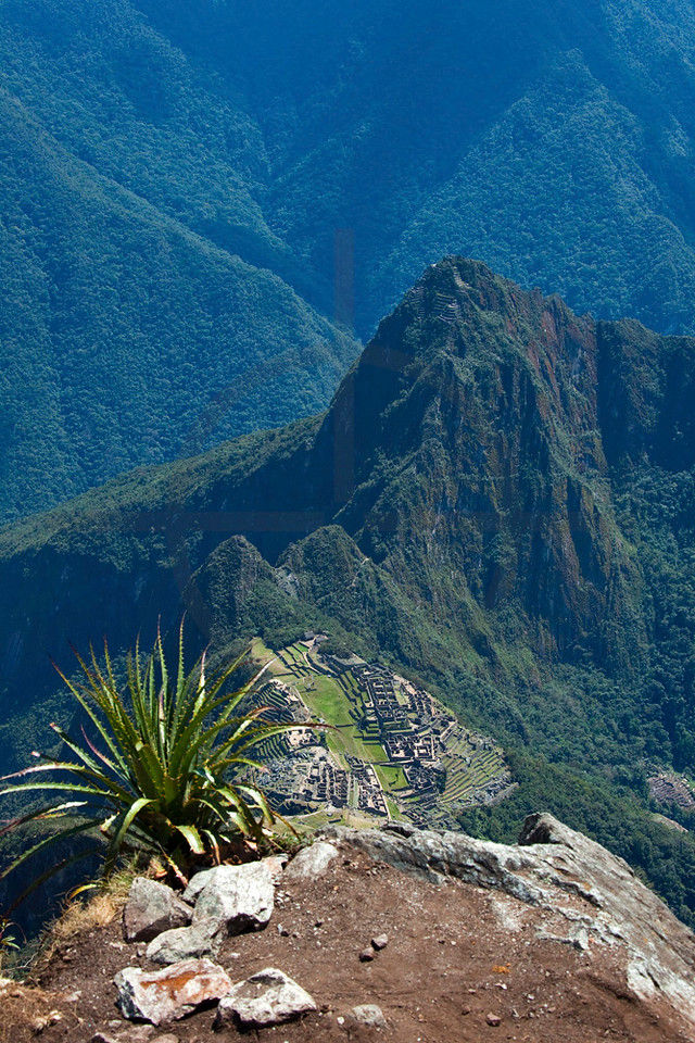 Machu Picchu as seen from Machu Picchu Mountain, Peru