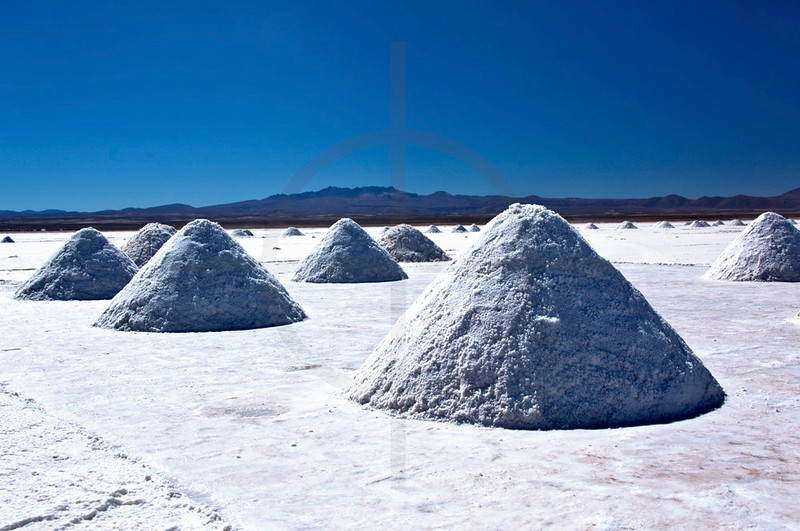 Salt extraction, Salar de Uyuni, Bolivia