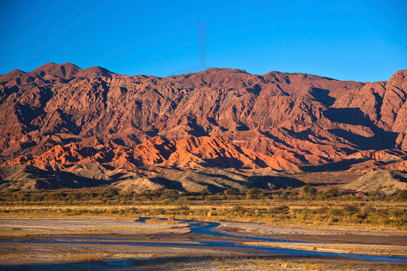 The banks of Rio Calchaqui at sunset, Ruta 40 near San Carlos, Salta, Argentina