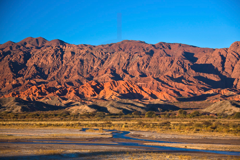 The banks of Rio Calchaqui at sunset, Ruta 40 near San Carlos, Salta, Argentina