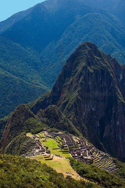 Machu Picchu as seen from the half-way point to the top of Machu Picchu Mountain, Peru