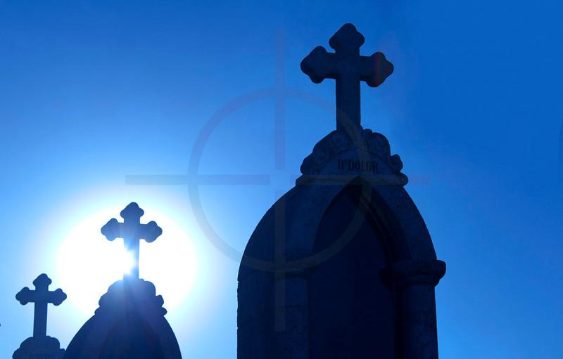 Crosses on Cerro Calvario, Copacabana, Bolivia