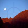 Rising moon over red rocks, Ruta 40 near San Carlos, Salta, Argentina