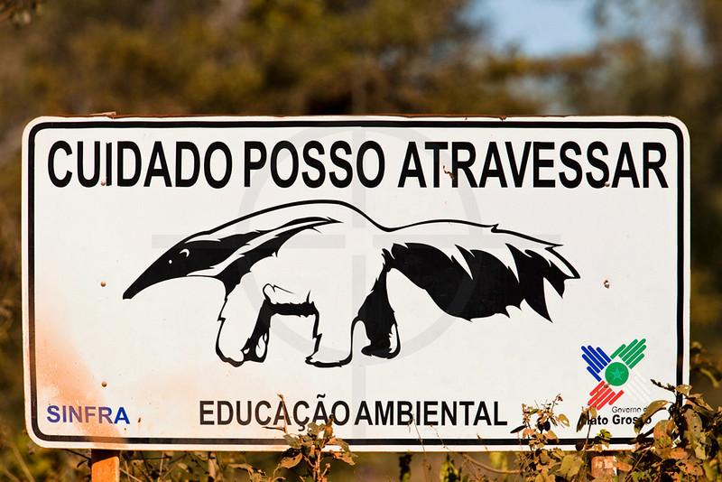 Road sign along the Transpantaneira, Pantanal, Brazil