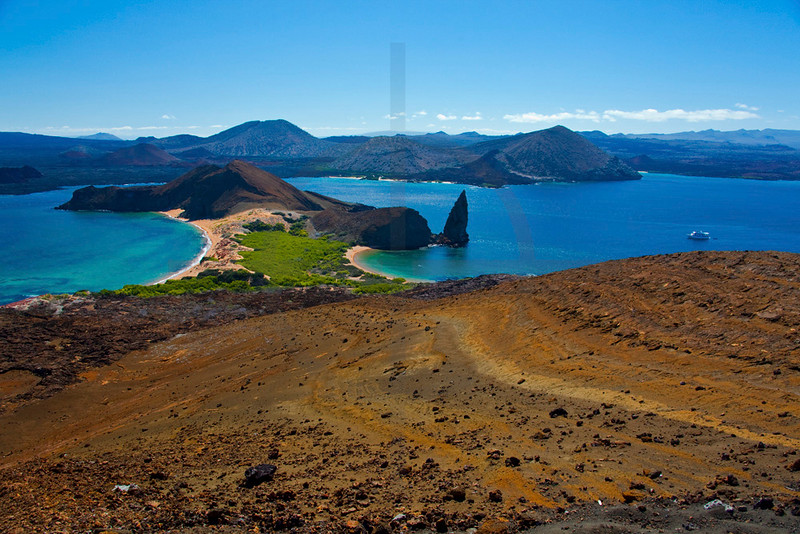 View from Bartolomé Island towards Santiago, Galápagos Islands, Ecuador