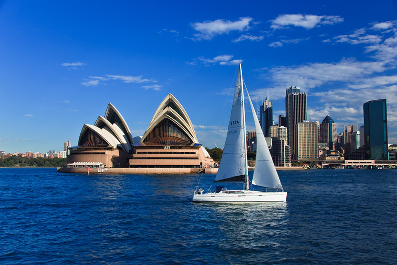 Sailing past the Sydney Opera House, Sydney, New South Wales, Australia
