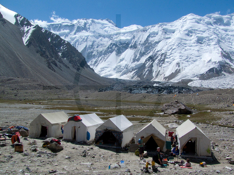 UN refugee tents at Moskvina Base Camp, Pamir Range, Tajikistan