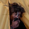 Using the walkie talkie, Pamir, Tajikistan