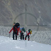 Mountaineers ascending Somoni Peak, Pamir, Tajikistan
