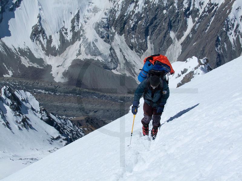 Climbing to Camp II, Southern Crest Route, PIk Korzhenevskaya, Pamir, Tajikistan