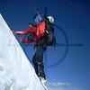 Climber on a steeper section of Borodkin's Rib, Somoni Peak, Pamir, Tajikistan