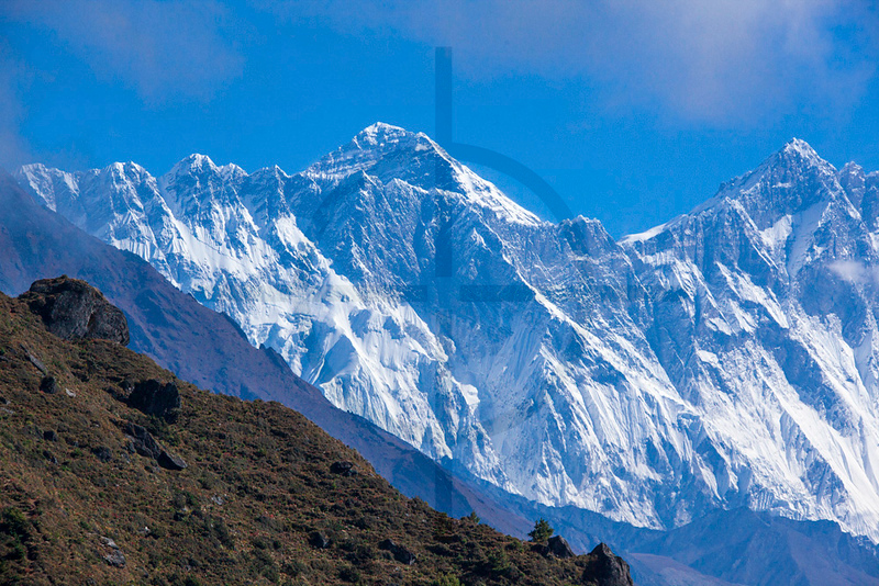 View of Mount Everest (left) and Lhotse from Namche Bazaar, Solukhumbu District, Nepal