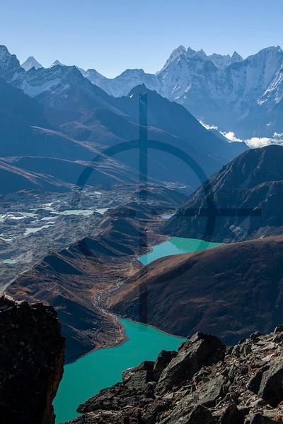Gokyo Peak view: Ngozumpa glacier and Gokyo Lakes, Solukhumbu District, Nepal