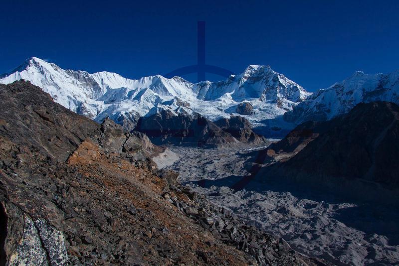 Gokyo Peak view: Cho Oyu and Ngozumpa glacier, Solukhumbu District, Nepal