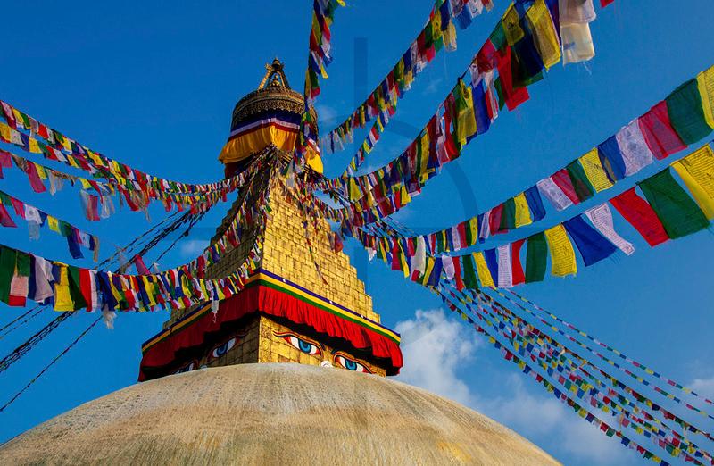 Top of Boudhanath Stupa, Kathmandu, Nepal