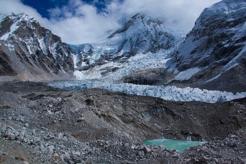 Khumbu Glacier and Icefall, lower slopes of Mount Everest, Sagarmatha National Park, Nepal
