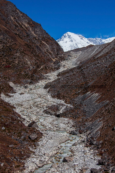 Cho Oyu mountain and the Dudh Koshi river, Solukhumbu District, Nepal