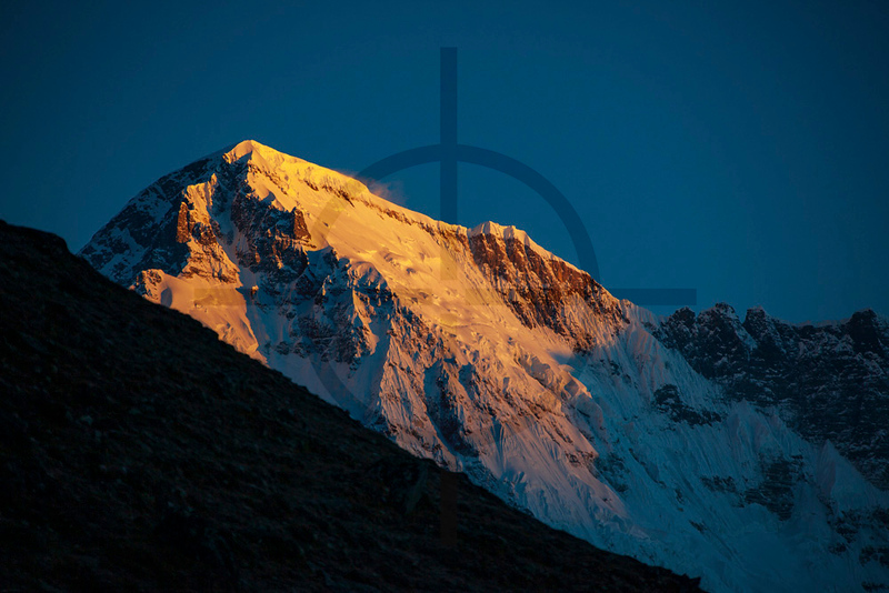 First light on the top of Cho Oyu as seen from Gokyo, Solukhumbu, Nepal