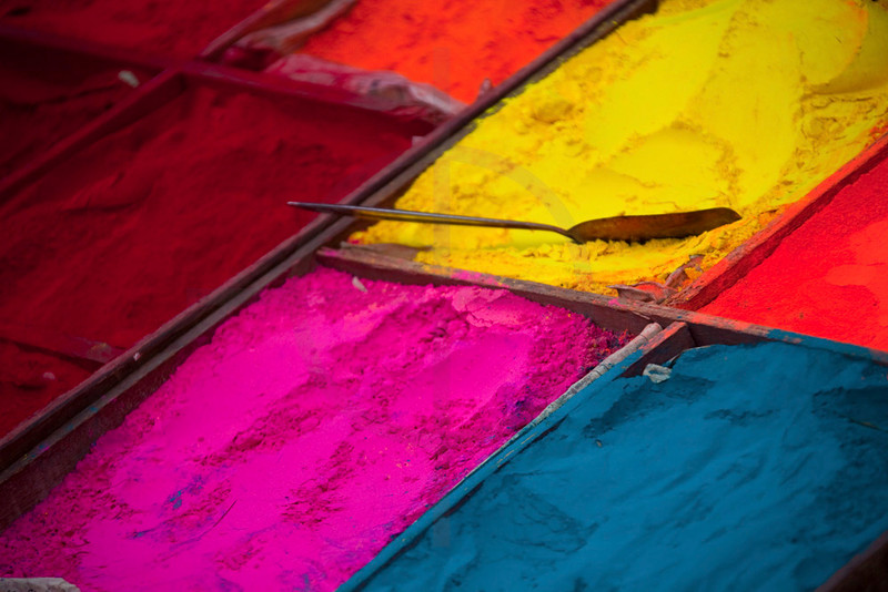 Dyes for sale at a market stall, Pashupatinath, Kathmandu Valley, Nepal