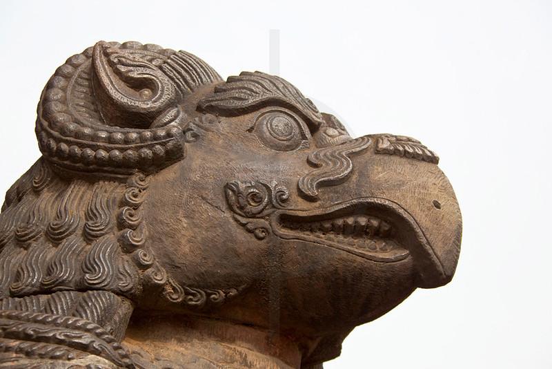 Head of griffin statue, Nyatapola Siddhi Laxmi Temple, Taumadhi Square, Bhaktapur, Kathmandu Valley, Nepal