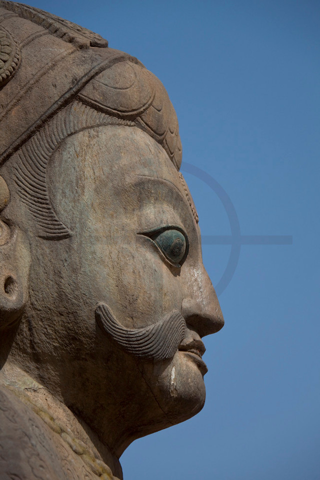 Head of guardian statue, Nyatapola Siddhi Laxmi Temple, Taumadhi Square, Bhaktapur, Kathmandu Valley, Nepal