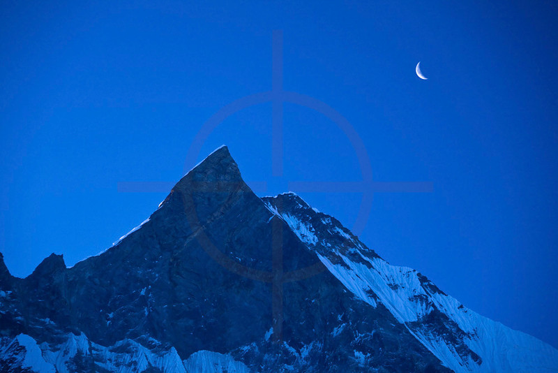 Machhapuchhre at dusk as seen from Annapurna Sanctuary, Annapurna Himal, Nepal
