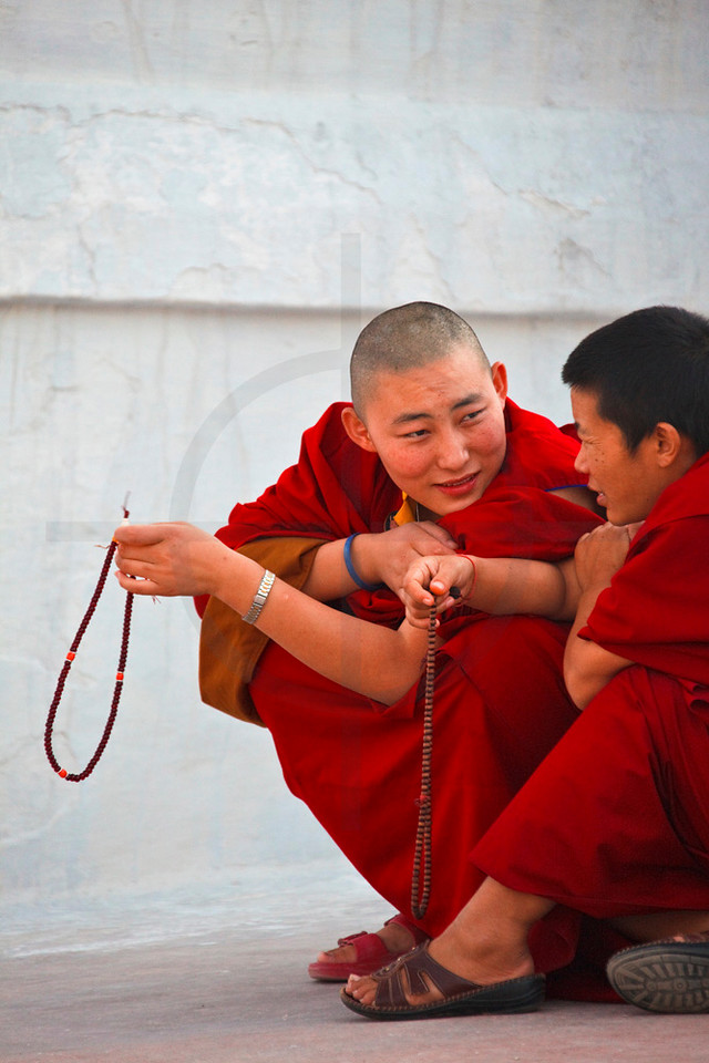 Buddhist nuns talking to each other, Boudhanath Stupa, Kathmandu Valley, Nepal