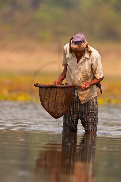 Small-scale sweet water fishing, Sauhara, Nepal
