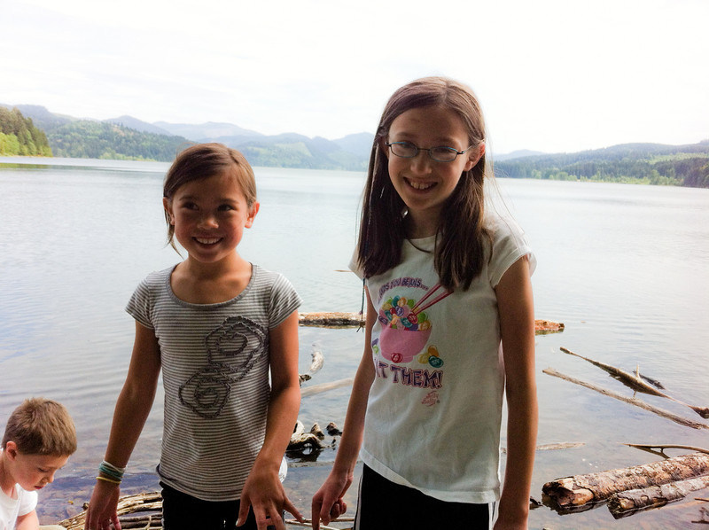 After our bike ride along Row River, Julia and Venice cool off in the lake.