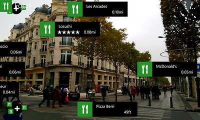 I LOVE the Nokia City Lens with Augmented Reality!! There is NO better way to find your way around a new city (Champs-Elysées Paris here) than this!! So where did we end up? Yup, McDonald's, 0.05 miles miles down the road.