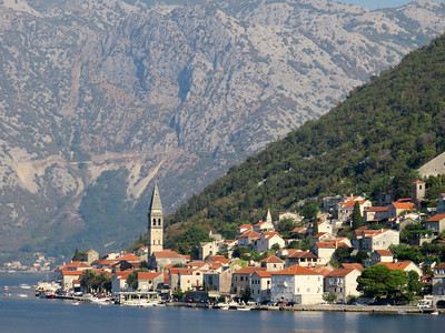 The Bay of Kotor in Montenegro is dotted with small towns and villages.