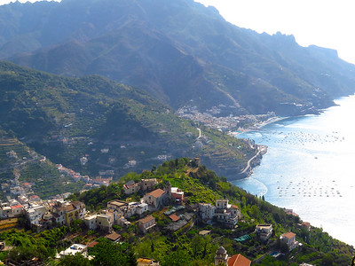 View of the Amalfi Coast, looking south from the mountaintop town of Ravello.