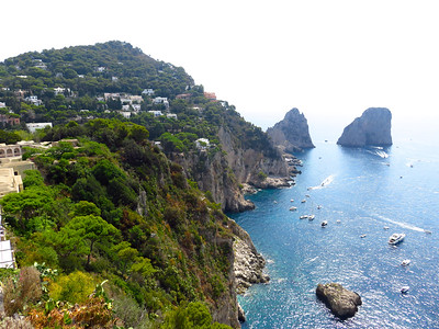 View of the Faraglioni Rocks from the Giardini di Augusto on the southern side of Capri.