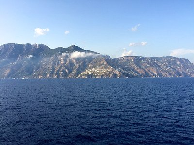 Sailing south along the Amalfi Coast, between the towns of Positano and Amafi.