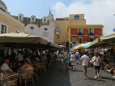 The always bustling Piazzetta in the center of Capri Town.