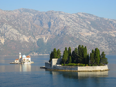 Sailing through the narrow passageway from the Adriatic Sea into the Bay of Kotor (Montenegro) past these two small islands.