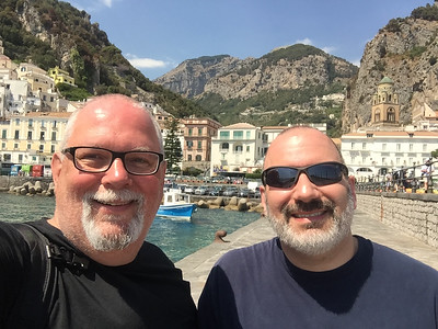 On the dock in Amalfi, heading up to the town of Ravello (at the top of the mountain behind us) for the day.