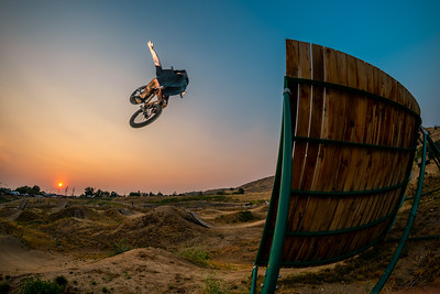 Dennis Pecchenino with a wall ride to tuck no hander at the Boise Bike Park