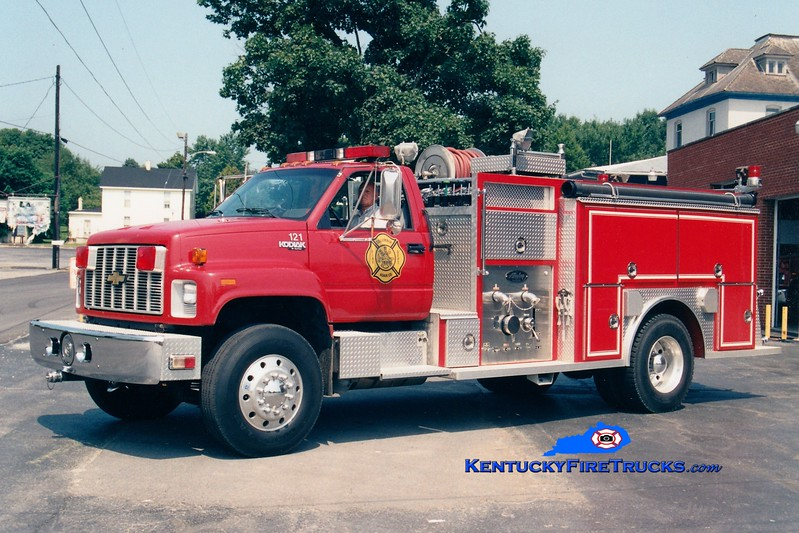 <center> RETIRED <br> Columbia-Adair County  Engine 121 <br> 1992 Chevy Kodiak/Allegheny 1000/750 <br> Greg Stapleton photo </center>