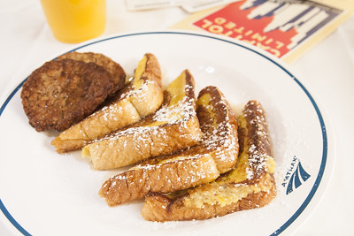 A french toast breakfast aboard the Amtrak Capitol Limited from Waterloo, IN to Chicago, IL on Monday, August 10, 2015. Copyright 2015 Jason Barnette