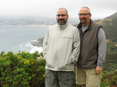 Joe and Ed at Chapman's Peak, on the coast near Cape of Good Hope.